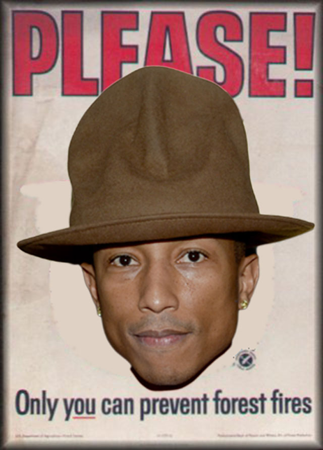 Pharrells-Hat-is-totally-related-to-Smokey-the-Bears-hat.